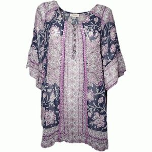 Style Co Floral-Print Bell-Sleeve Top Lotus Small